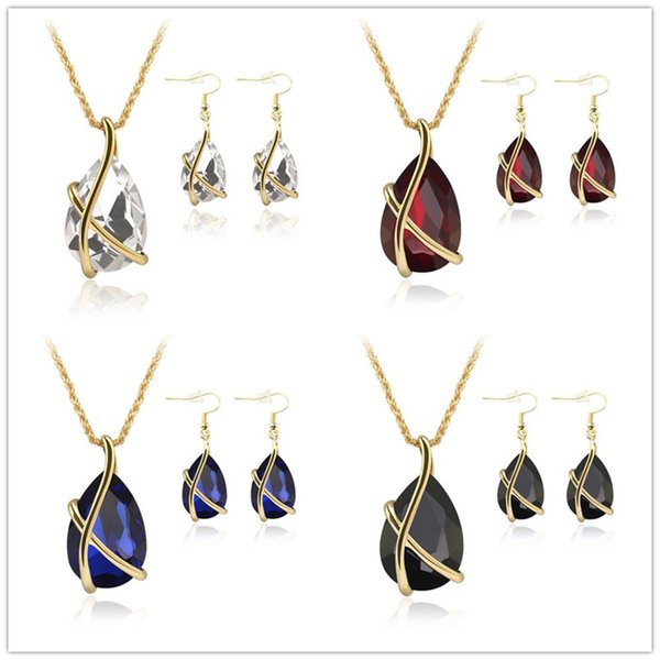 Wedding Bridal Dress Accessories Jewelry Sets For Women Gold Plated Holiday Party Water Drop Crystal Necklace Earrings Jewelry Set 61152100