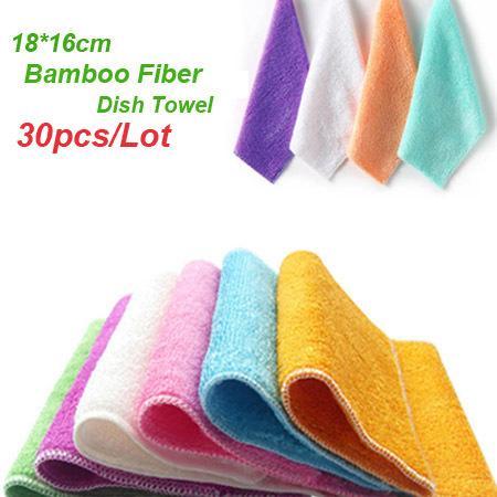 Toallas de plato de fibra de bambú natural 30 unids / lote 18 * 16 cm Toallas de cocina multifunción ambiental Paño de plato mágico Multi color, dandys