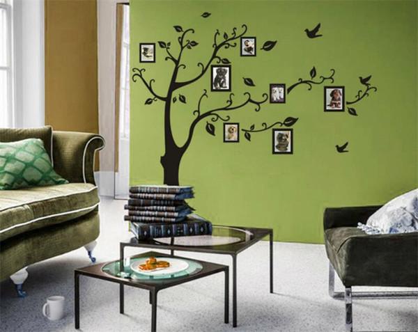 Kleine Größe Schwarz Familie Bilderrahmen Baum Wandaufkleber DIY Dekoration Wandtattoos Moderne Kunst Wandbilder für Wohnzimmer