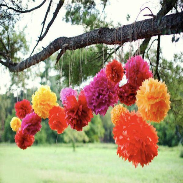 2016 Popular 30pcs 6 8 10 Birthday Party Decor Paper Flower Ball Wedding Party Scene Paper Pom Poms Wreaths