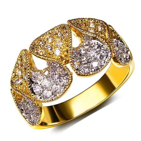 Top quality 18K thick gold plated CZ Micro Pave setting elegant index finger rings