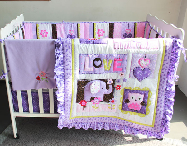 best selling 8Pcs Baby bedding set Purple 3D Embroidery elephant owl Baby crib bedding set 100% cotton include Baby quilt Bumper bed Skirt etc