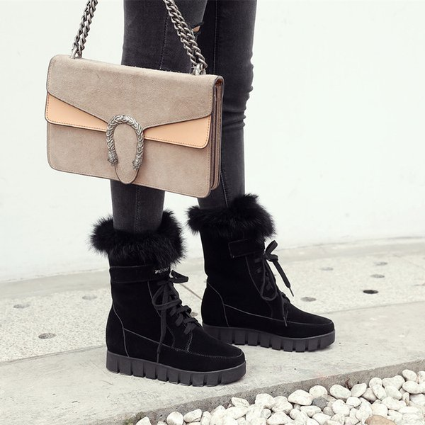 Ankle Boots Women U.S Large Size 34-43 New Cute Style Warm Calf Suede Women Flat Shoes Snow Boots