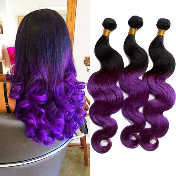 6a Peruvian Ombre Purple Weave Hair Two Tone Human Hair Weave 3