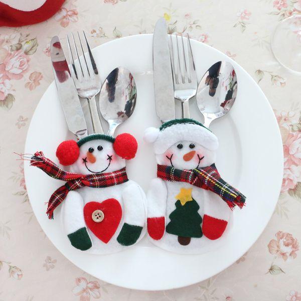 wholesale christmas decoration snowman santa claus tableware fork knife holder bag dinner table decorations fork - Wholesale Country Christmas Decor
