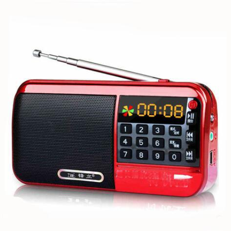 Mini Portable Radio Dual Bands Chargeable Digital LCD Display Panel Stereo FM Radio Speaker MP3 Music Player USB TF Mirco for SD Card