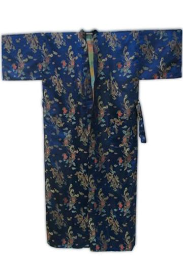 Wholesale-Summer Navy Blue Chinese Men Silk Satin Bathrobe Vintage Dragon Robe Nightwear Kimono Yukata Gown Size S M L XL XXL MR098