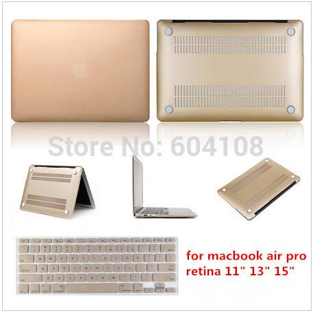 Laptop Case Ultra Thin Gold Matt Protector Hard Case +Same Color Keyboard Cover For MacBook Air, Pro, Retine11, 13, 15 inch, Free shipping