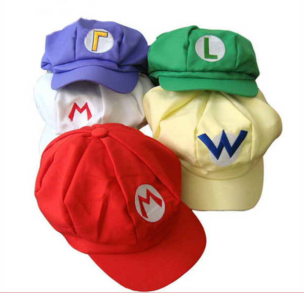 Super Mario Bros Anime Cosplay Red Cap Tag Super cotton hat Super mario hats Luigi hat Super Mario Baseball Hats 5 colors Free Shipping