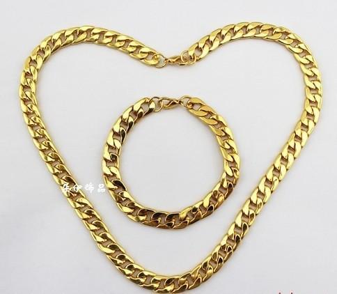 Мода ювелирные изделия старинные гальваническим 18K золото мужчины ' S акриловые цепи ссылка / ожерелье браслет ювелирных изделий DIY Бесплатная доставка 2 Комплект P291