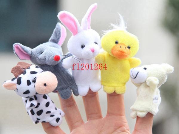 top popular 1000pcs lot DHL Fedex EMS Free Shipping Cute Cartoon Biological Animal Finger Puppet Plush Toys Child Baby Favor Dolls PNLO 2021