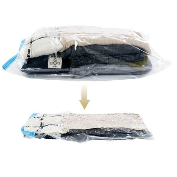 Wholesale- 10pcs/lot Use Without Air Pump 37*53 New Design Space Saver Travel Compress Vacuum Roll-Up Storage Bag