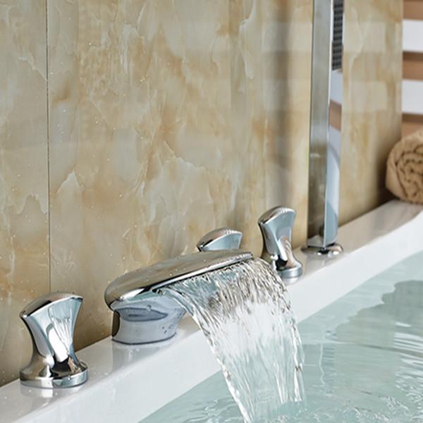 Großhandel und Einzelhandel Chrom poliert Messing Wasserfall Auslauf Badezimmer Badewanne Wasserhahn W / Handbrause Sprayer Mischbatterie