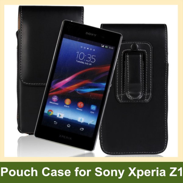 Wholesale Elegant Belt Clip PU Leather Vertical Flip Cover Pouch Case for Sony Xperia Z1 C6902/L39h/HSPA Free Shipping