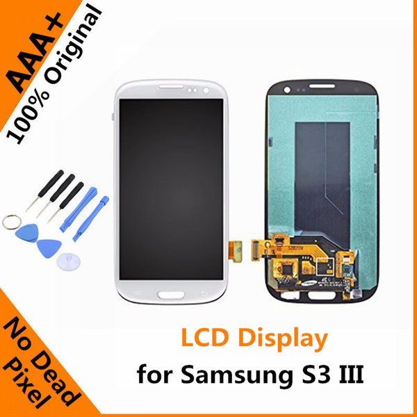 Wholesale-Original LCD Display for  Galaxy S3 S III with Touch Screen Digitizer Assembly S3 i9300 i9305 i747 T999 i535 with Tools