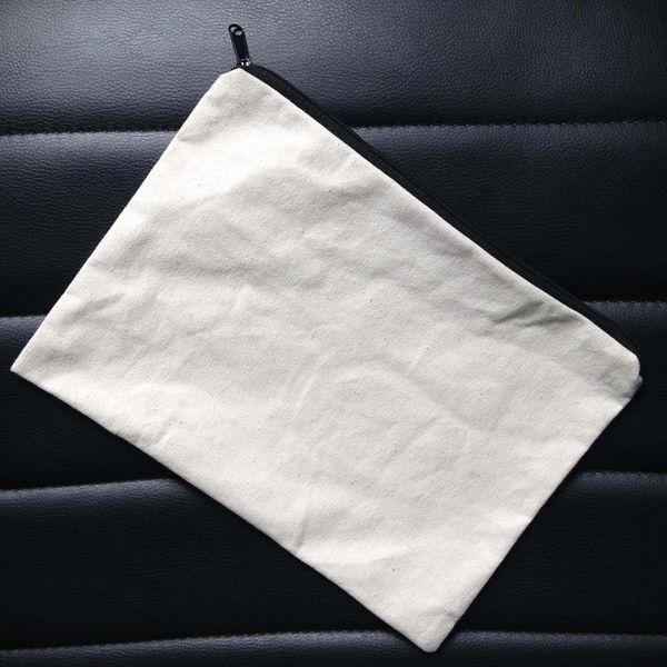 60pcs/lot plain natural light ivory/black color pure cotton canvas coin purse with black zipper unisex casual wallet blank cotton pouch