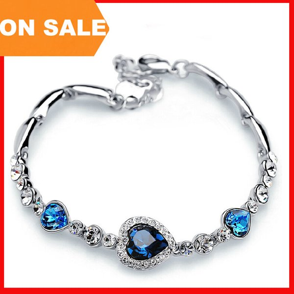 Fashion Heart of Ocean bracelet heart love crystal charm bracelets full diamond bangle cuff women statement jewelry Christmas gift 160665