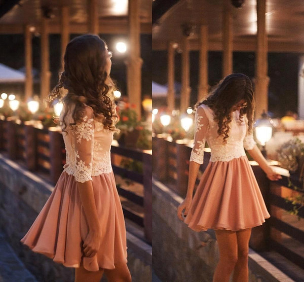 Media manga larga vestidos de cóctel de encaje 2016 Jewel Neck una línea de gasa hasta la rodilla de alta calidad de primavera corto Prom Vestidos de fiesta de encargo BA1050