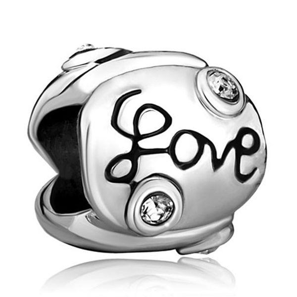 10 pcs per lot Transparent Crystal Love European Bead Fit Pandora Chamilia Biagi Charm Bracelet