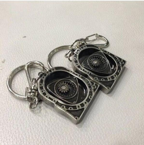 10pcs/Lot New HOT Spinning Rotor Keychain Creative Car Auto Parts Model Engine Rotary Keyring Key Ring Chain Keychain Keyfob