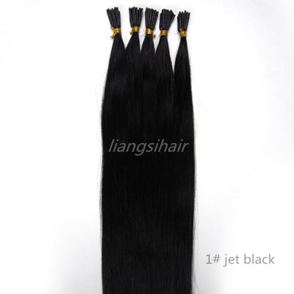 "Brazilian Straight Hair Style Brazilian Indian Peruvian Malaysian I-tip Remy Human Hair Extensions 15"" 80g 18""-26"" 100g 100s 1# Jet black"