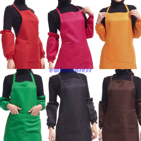 best selling 2X Plain Apron with Front Pocket for Chefs Butchers Kitchen Cooking Craft UK Baking Home Cleaning Tool Coveral Apron Acces New Hot sale