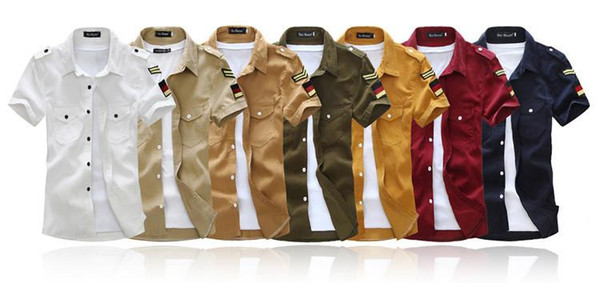 Military style short sleeve men shirts 7 colors M-XXL BF181New free shipping