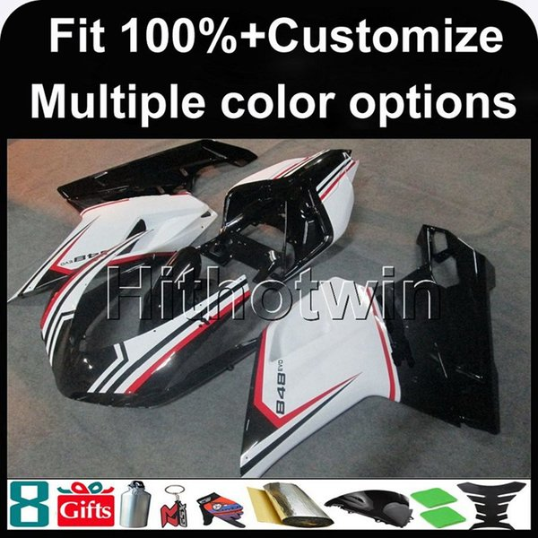 23colors+8Gifts Injection mold WHITE BLACK ABS motorcycle Fairing For Ducati 1098 1198 848 2007 2012 07 08 09 10 11 ABS Fairing