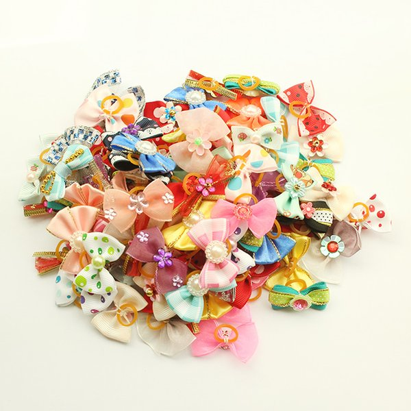 Armi store Handmade Dog Bow Pet Hair Bows Dogs Hair Accessories Grooming Products 11002 Cute Gift 100 Pcs/Lot Mix Style