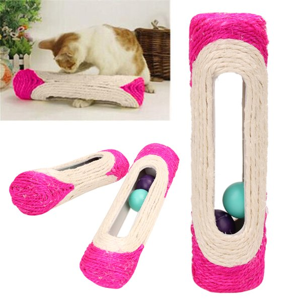 1 Pcs Animal Supplies Pet Cat Kitten Kitty Toy Long Rolling Scratching Toys Ball Sisal Scratch Post Trapped Ball Training Tool