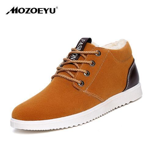 MOZOEYU Brand Fashion Men's Winter Snow Boots Ankle Thick Plush Warm Lace Up Artificial Leather Causal Shoes Man