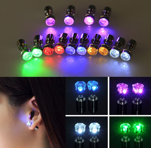 One Pair Light Up Led Stainless Steel Earrings Studs Glow Earrings Dance Party Accessories for Xmas New Year Men Women Sale Free Shipping