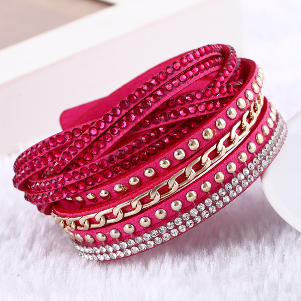 best selling Women New Fashion Pu Leather Wrap Wristband Cuff Punk Rhinestone Bracelet Crystal Bangle Charm Bracelets 10colors