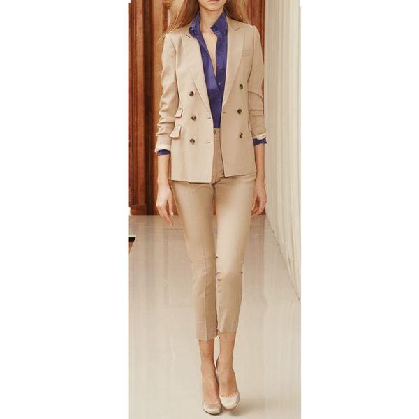 Çift Göğüslü Kadınlar Bayanlar Özel Yapılmış Ofis İş Smokin Takım Elbise 2 Parça (ceket + pantolon) siparişe uygun
