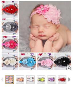 Europe et vente bande de cheveux des enfants avec des bords de polygone de diamant fleurs de fleurs vieille bande de cheveux élastique de bébé bande de cheveux élastique 10pcs