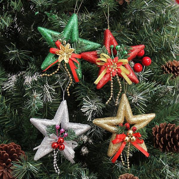 2015 New 13cm hollow-pointed star glitter glued decorative ornaments decorated Christmas tree decorations for christmas tree
