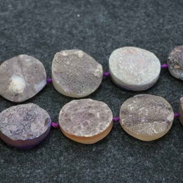 9pcs Druzy Purple Agate Gemstone Beads, Natural Slice Slab Drusy Crystal Quartz Face Necklace Pendant Connector Jewelry Make Wholesale Price