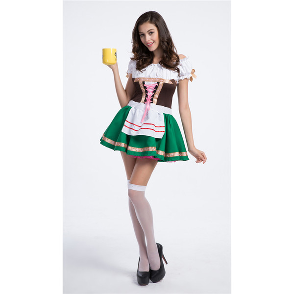 Women's Oktoberfest Sweetie Inga Costume for Halloween Beer Bar Coffee House Waitress Maid Costumes Luck of the Irish Gal Size M-XL