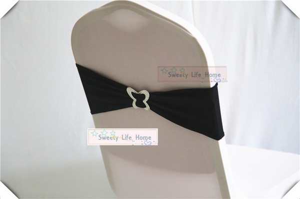50pcs Black Spandex Chair Bands with Butterfly Buckle Chair Sash Stretch Lycra chair bows for Event Party Decoration