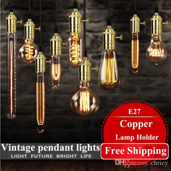 2016 American vintage pendant lights copper lamp holder tungsten light bulb industry pendant lamps Golden/Chrome E27 W-filament bulb
