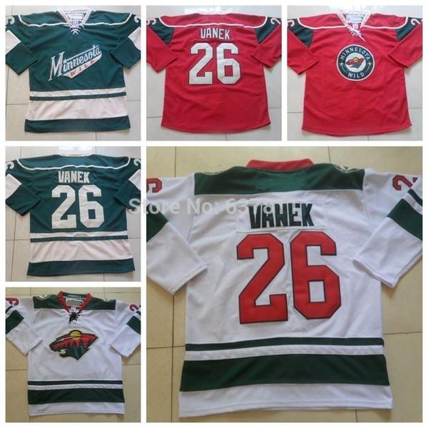 2014 Minnesota Wild Ice Hockey Jerseys #26 Thomas Vanek Jersey Home Green New White Red Thomas Vanek Authentic Stitched Jerseys