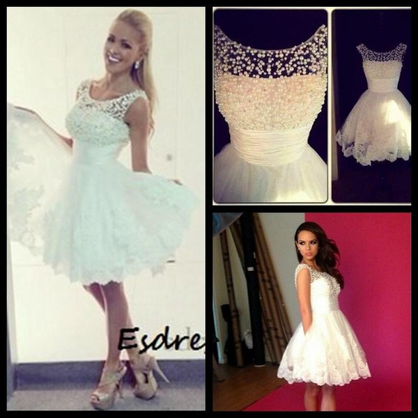 In Stock Little White Cocktail Party Dresses Sheer Neck Pearls Lace Appliques Short Prom formal Gowns Beach Summer 2019 Cheap
