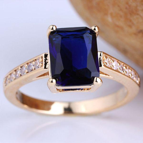 Estilo simples Lady Oblong Cut Stone Amarelo Acabamento Em Ouro Esterlina 925 Anel de Prata Azul Sapphire Presente para a Mãe Tamanhos Cores Selecionáveis R100