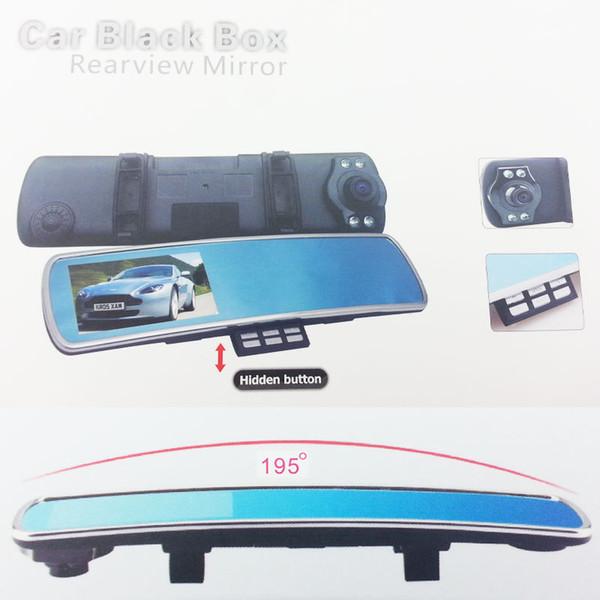 """car DVR vision black carcam tachograph 170 Degree 4.3"""" inch LCD Monitor Car Mirror Camera DVR Full HD 1080P"""