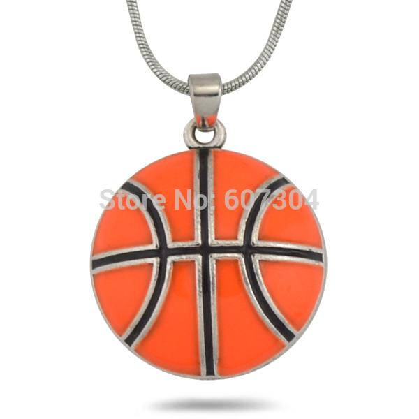 Retail 10Pcs/lot Zinc Alloy Metal Plating Single-sided Enamel Orange Basketball Sports Pendant Necklaces