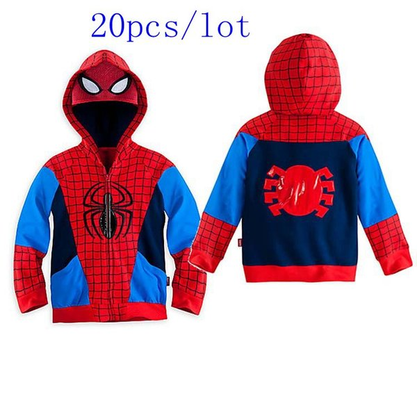 20pcslot children boys outerwear clothing coats spiderman jacket boy hoodies spiderman