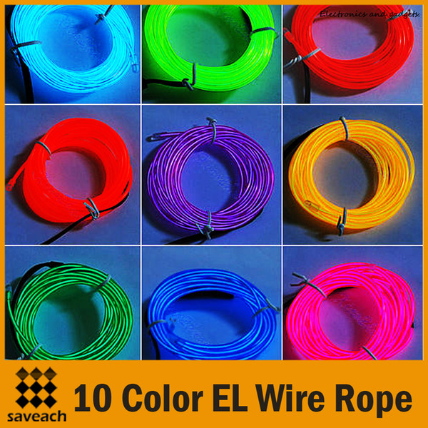 10 Colors - 3M Neon/Red/Yellow/Green/White/Blue/Orange/Purple Light Flexible EL Wire Rope Tube with Controller Christmas Party Decoration