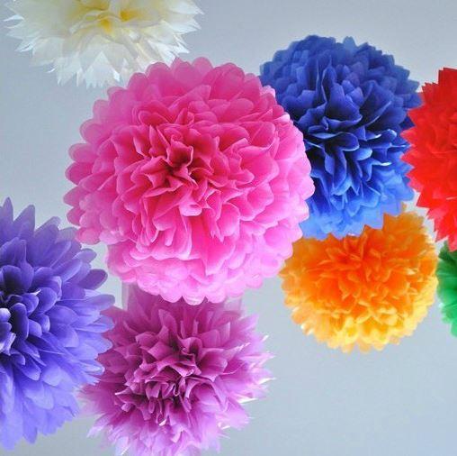 (12 unids) Flores Decorativas Casamento Pompones Pompon Cumpleaños 15 cm Fiesta de Año Nuevo de Navidad Colgante Pompom Decoración de La Boda