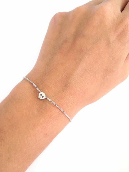 30PCS- B043 Tiny Sugar Skull Bracelet Cute Skeleton Bracelet Simple Animal Skull Face Head Bracelets for women