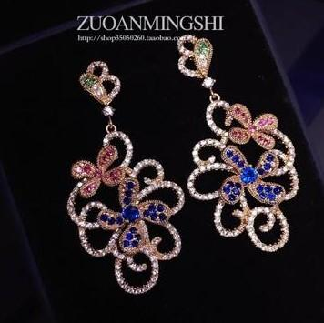 colorful High quality colorful diamondl crystal l zircon 925 silver hollow lady's Earrining (5cm*2.5cm)erwer